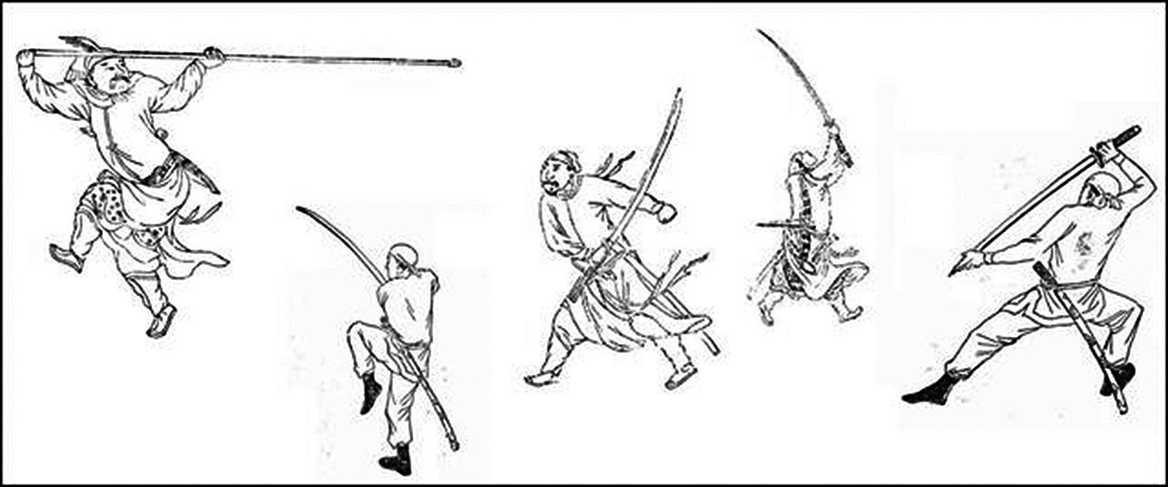 明代武學專家程宗猷所著,古代武藝書《耕餘剩技》的部份插圖(公有領域)