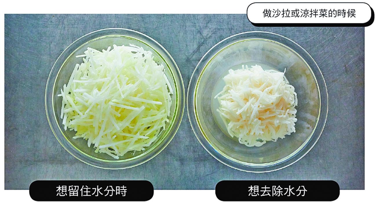 做沙律或涼拌菜時,想去除水份,就撒大量的鹽;想留住水份則最後才撒鹽。