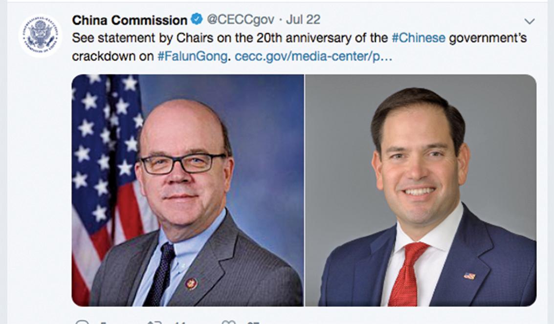 左為CECC現任主席、美國聯邦眾議員吉姆麥克高文(Jim McGovern),右為CECC的共同主席、美國聯邦參議員馬克魯比奧(Marco Rubio)(CECC推特截圖)