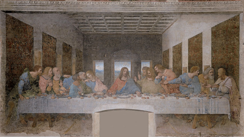 達文西所繪的最後的晚餐壁畫描繪了耶穌和他的十二門徒。(維基百科)