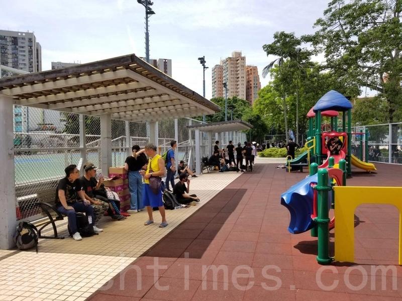 在原本起點的水邊村遊樂場,只有少量市民聚集。(宋碧龍/大紀元)