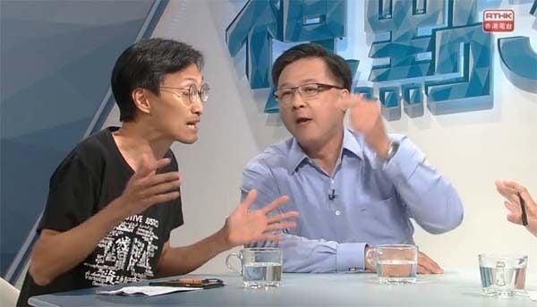 圖為朱凱迪(左)與何君堯在電台節目中激烈辯論。(影片截圖)