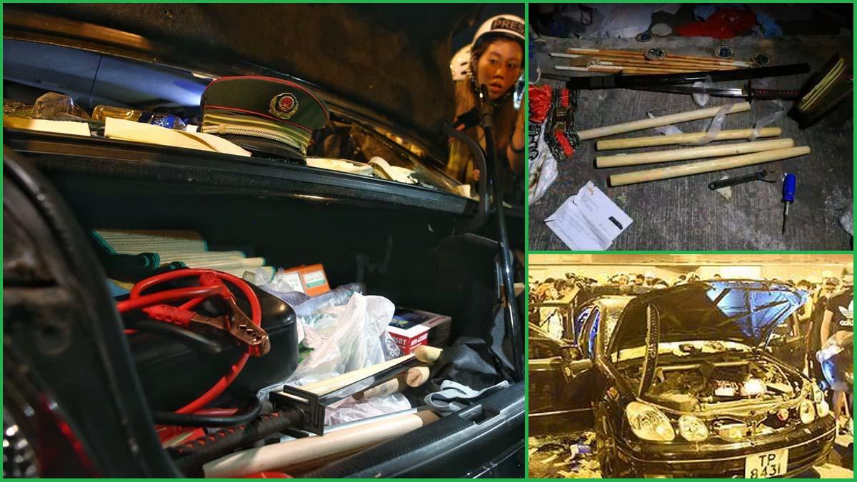 27日晚,香港元朗一輛私家車內發現大量籐條、木棍和鐵管,疑似7.21血洗元朗凶器。(網絡圖片)