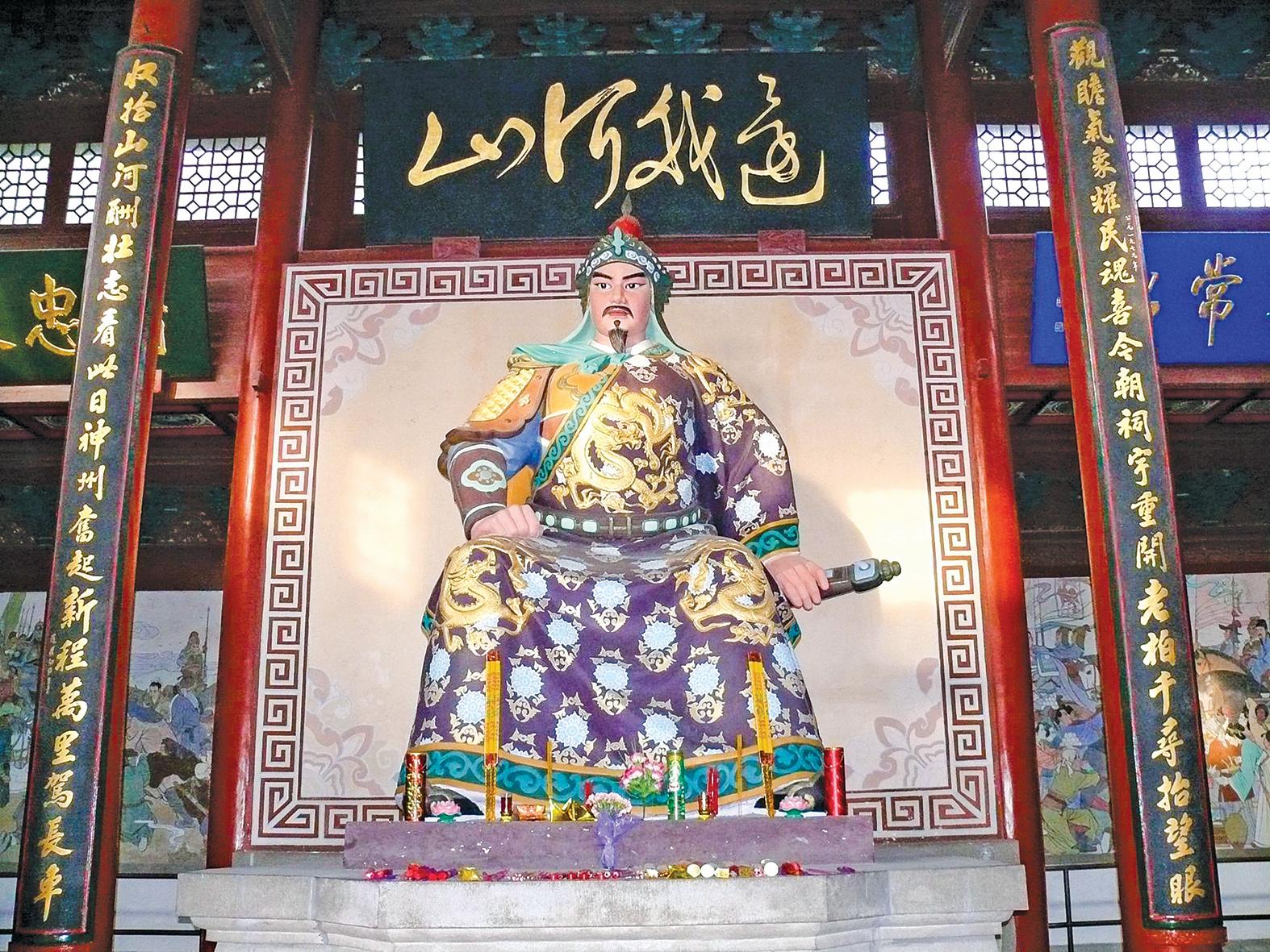 杭州岳王廟中的岳飛塑像。(Peter Potrowl/Wikimedia Commons)