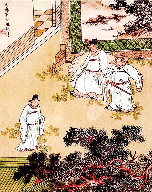 圖為金協中彩繪《三國演義》第七十九回插圖,兄逼弟曹植賦詩。(公有領域)