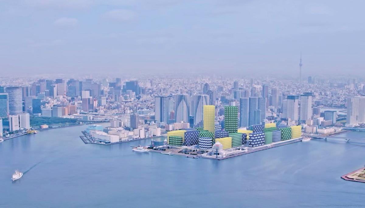 東京奧運村晴海樓群HARUMI FLAG建成示意圖。(HARUMI FLAG官網)
