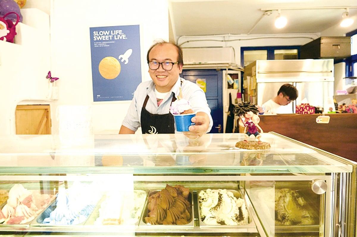 賣了10年冰淇淋的蔡家育,推出各種創意冰品。