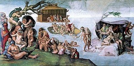 米高安哲羅繪於西斯廷教堂大廳天頂的創世紀壁畫《大洪水》(The Deluge)局部(維基百科)