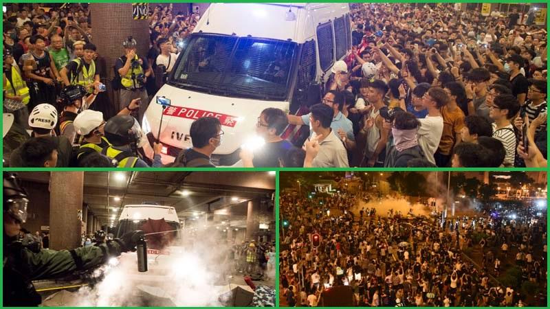 8月3日午夜,黃大仙居民一度包圍警車和警署。(網絡圖片)