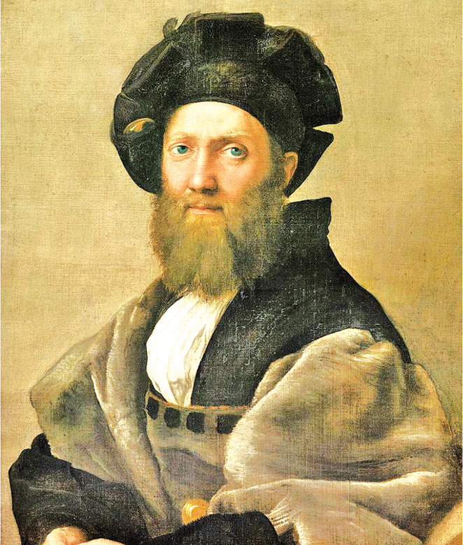 拉斐爾,《巴達薩列.卡斯提里奧尼畫像》(Ritratto di Baldassarre Castiglione),作於約1514~1515年,布面油畫,82×67公分,路易十四藏畫系列,法國巴黎羅浮宮藏。