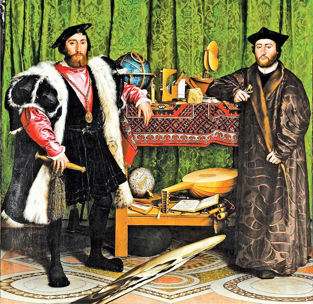 小漢斯·霍爾拜因,《使節》(The Ambassadors),作於公元 1533 年,油彩、橡木, 207 x 209.5 cm,英國倫敦國家畫廊藏。