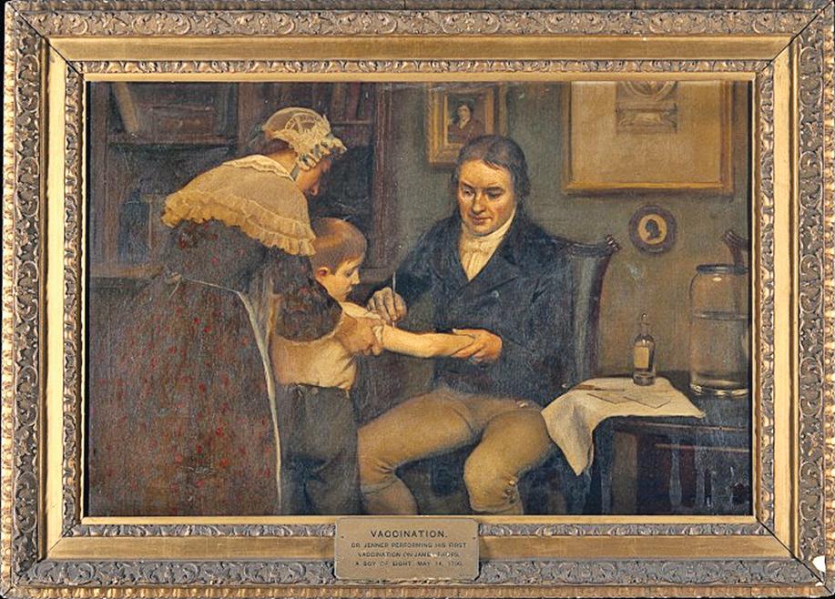 公元1796年5月14日,愛得華詹納醫生為一位8歲男孩接種牛痘疫苗圖。(公有領域)