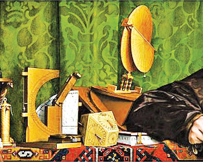 小漢斯·霍爾拜因,《使節》(The Ambassadors)局部。