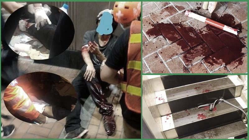 8月5日,香港荃灣白衣人和藍衣人砍傷多名示威者,現場留下多處血跡。(網絡圖片)
