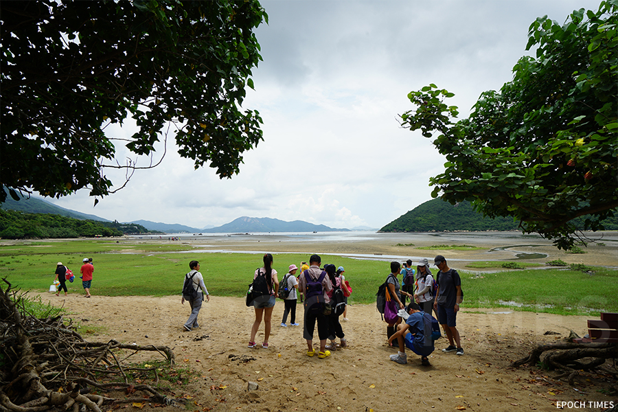 城市大學研究團隊舉辦水口海岸生態環境及萃取微塑膠考察活動,圖為參與者到達南大嶼山的水口灣。(曾蓮/大紀元)