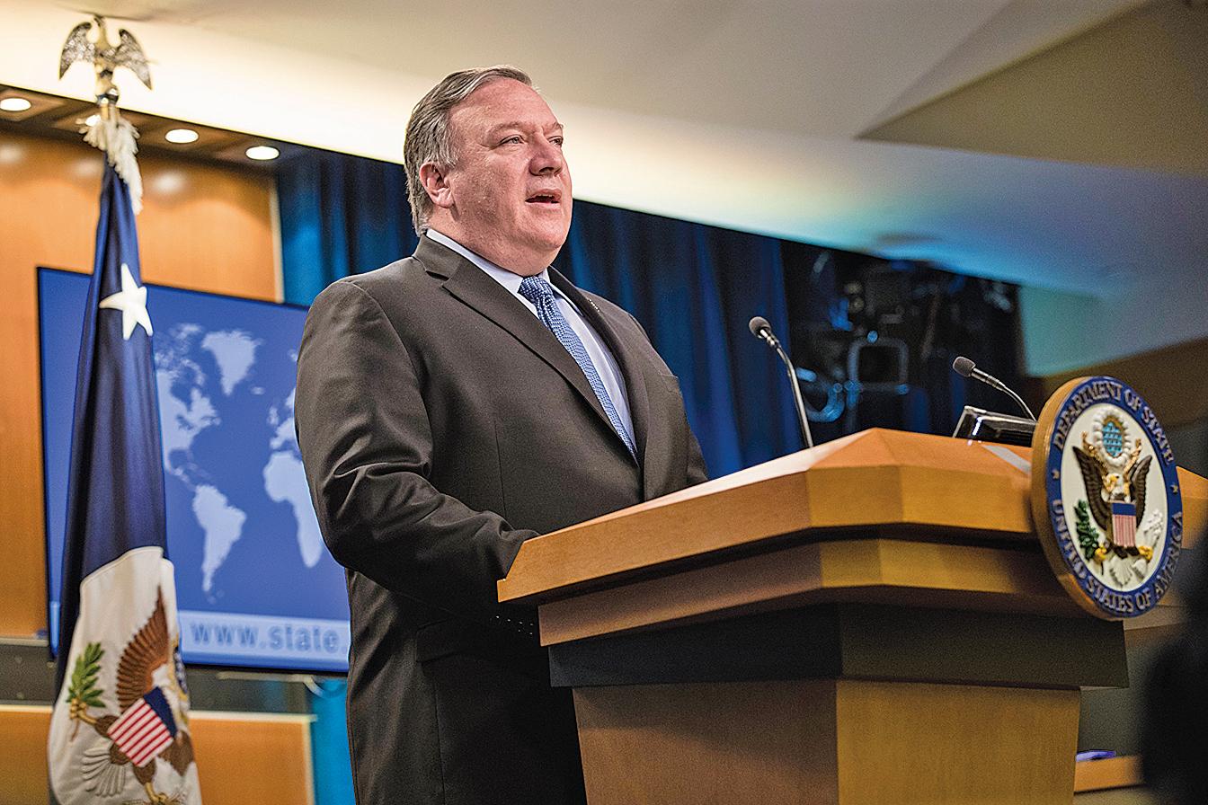 美國國務卿蓬佩奧於8月6日在媒體上刊文說,特朗普政府的施壓正在削弱伊朗政權。圖為2019年6月21日,蓬佩奧在國務院發言。(Getty Images)