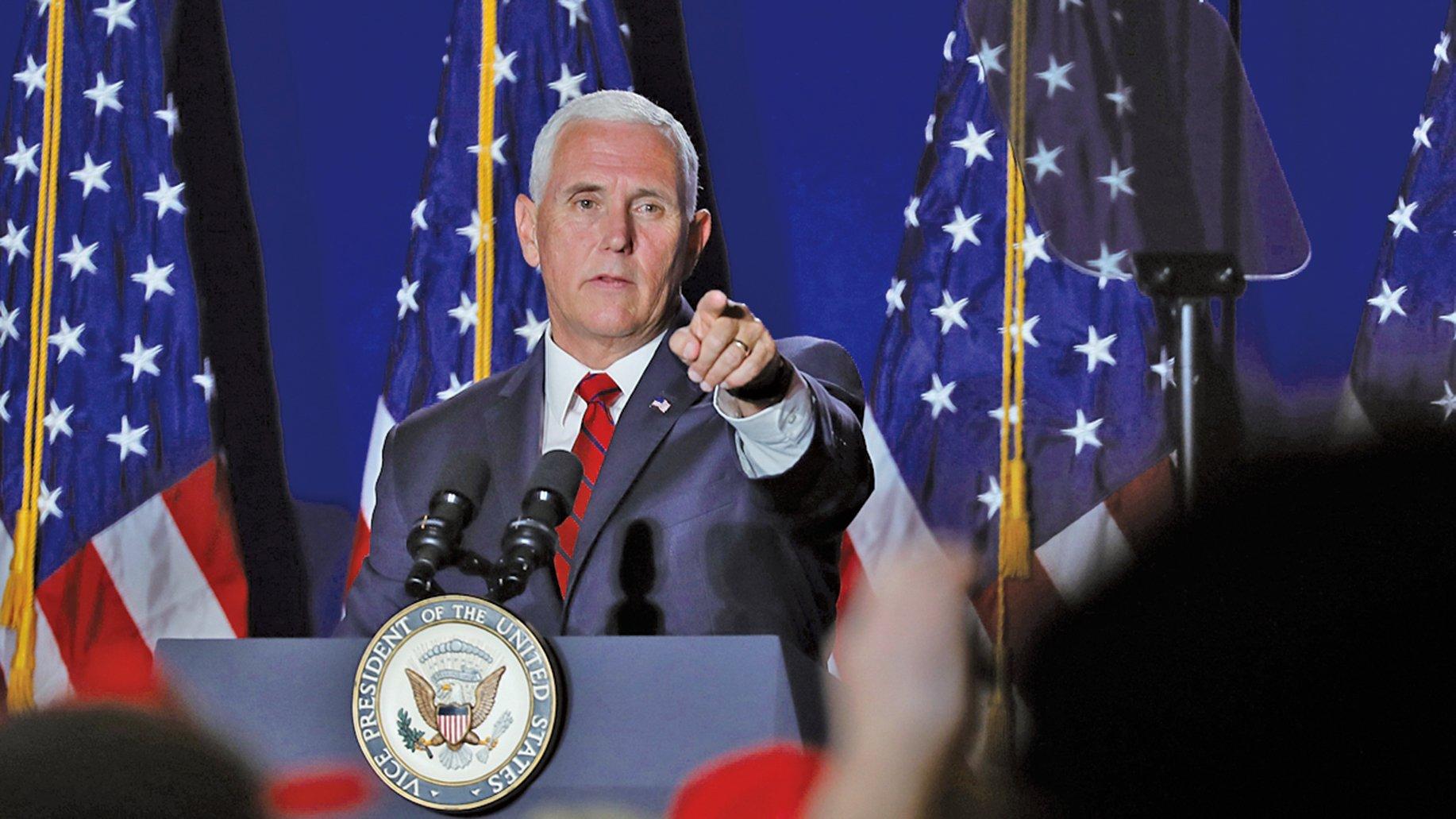 美國副總統彭斯(Mike Pence)日前會見了4名受邀參加「國際宗教自由圓桌會議」的成員。他表示,美國正考慮制裁一批侵犯人權的中共高官。(Getty Images)