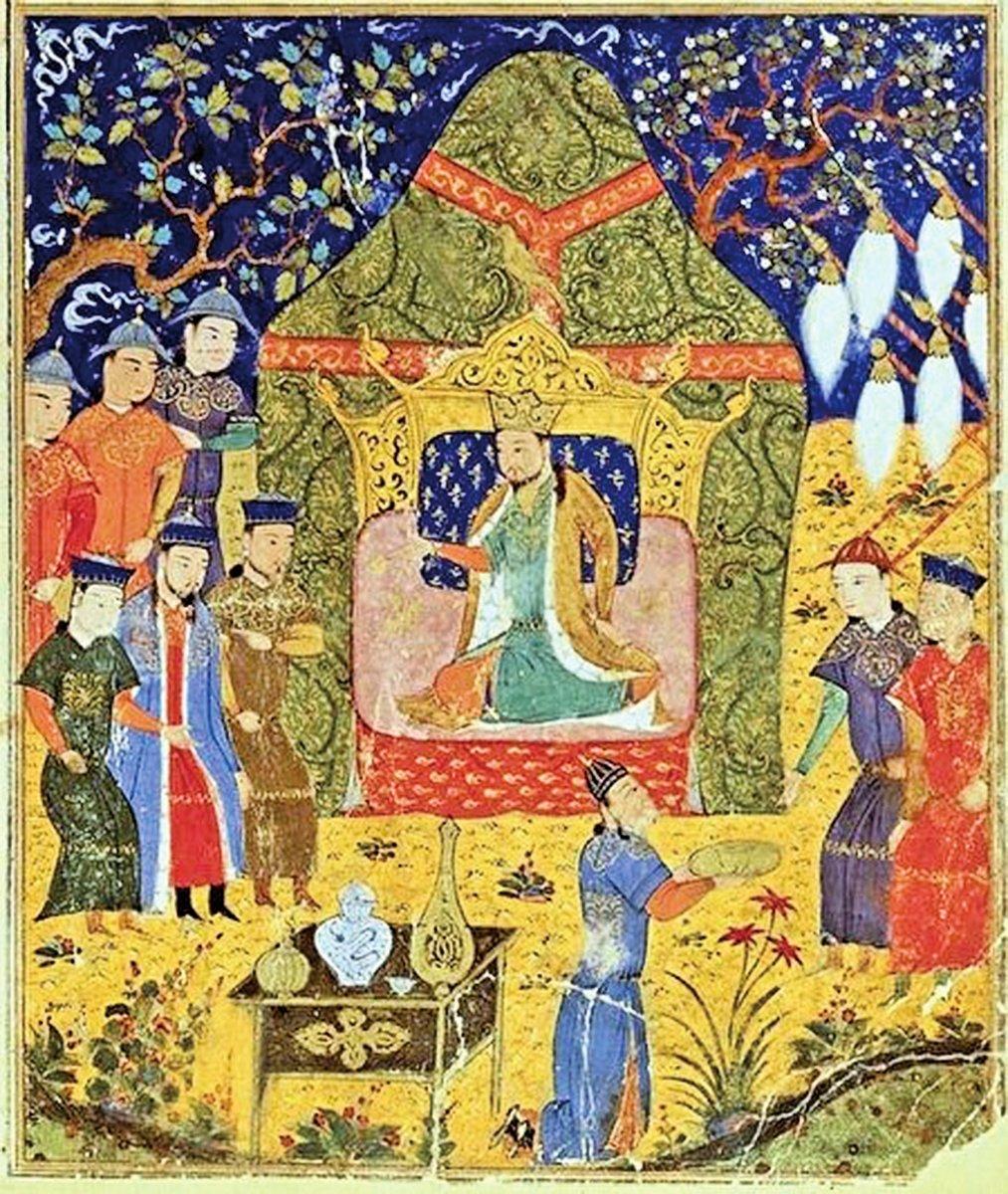 成吉思汗加冕圖,出自拉施德丁所著《史集》(Jami al-Tawarikh)。(公有領域)