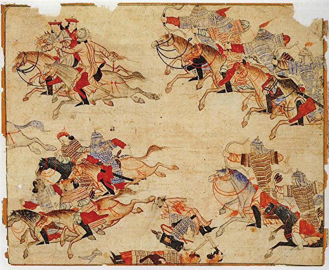 蒙古兵征戰場景,出自柏林國家圖書館所藏的波斯細密畫冊Diez Albums。(公有領域)
