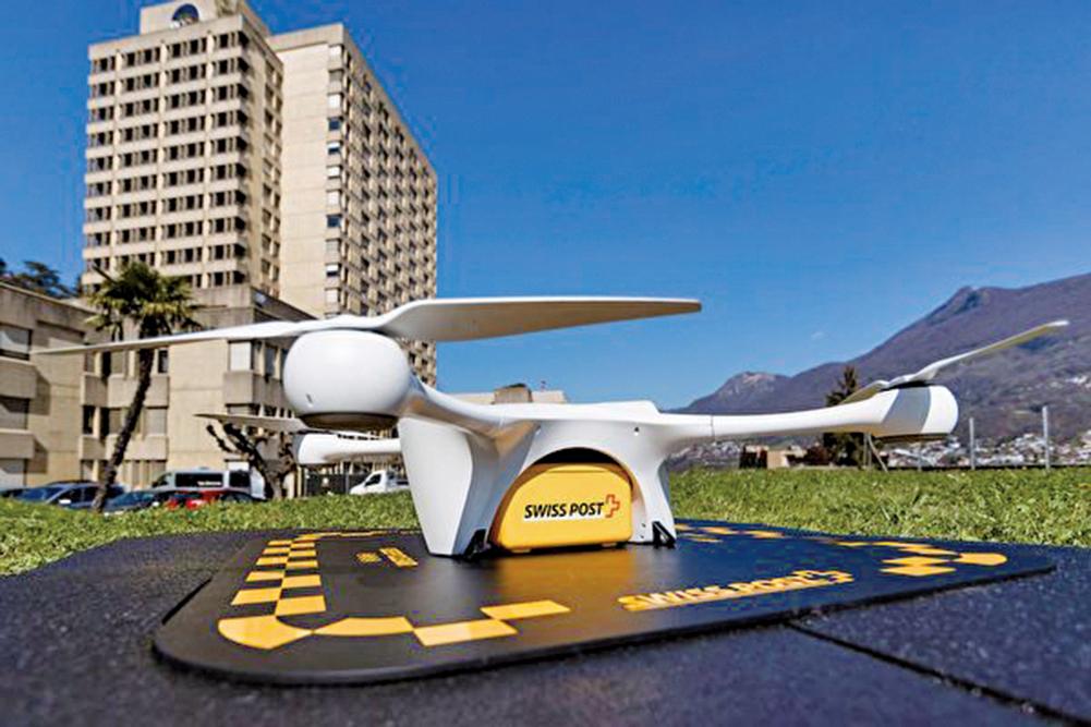 瑞士郵政與Matternet合作,自2017年開始使用無人機在醫院、診所和實驗室之間飛行,運送血液樣本。(Swiss Post)