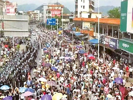 肇慶叫停垃圾焚燒廠 逾萬人照上街抗議