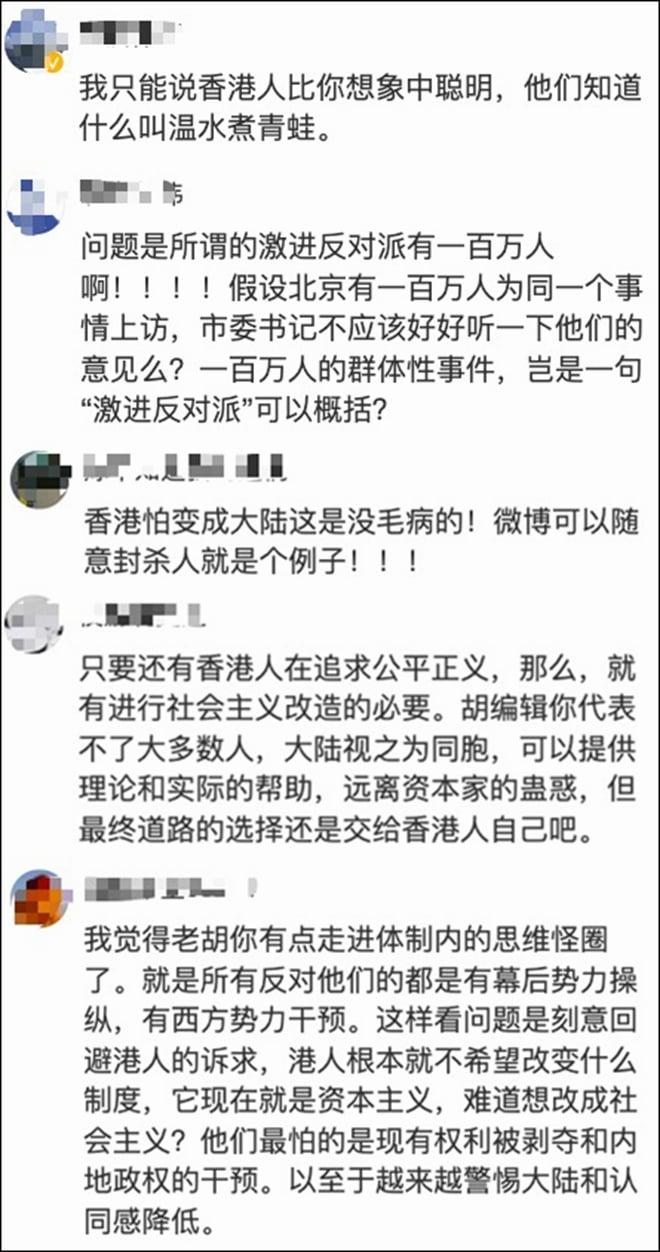 網民對胡錫進的博文跟帖評論。(網絡截圖)