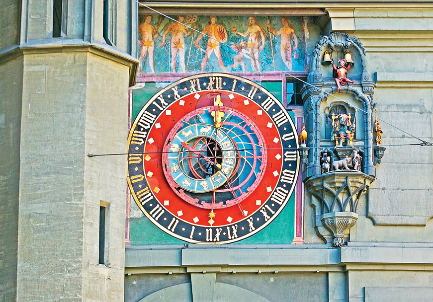 瑞士伯爾尼古鐘樓精巧繁複的齒輪。(shutterstock)