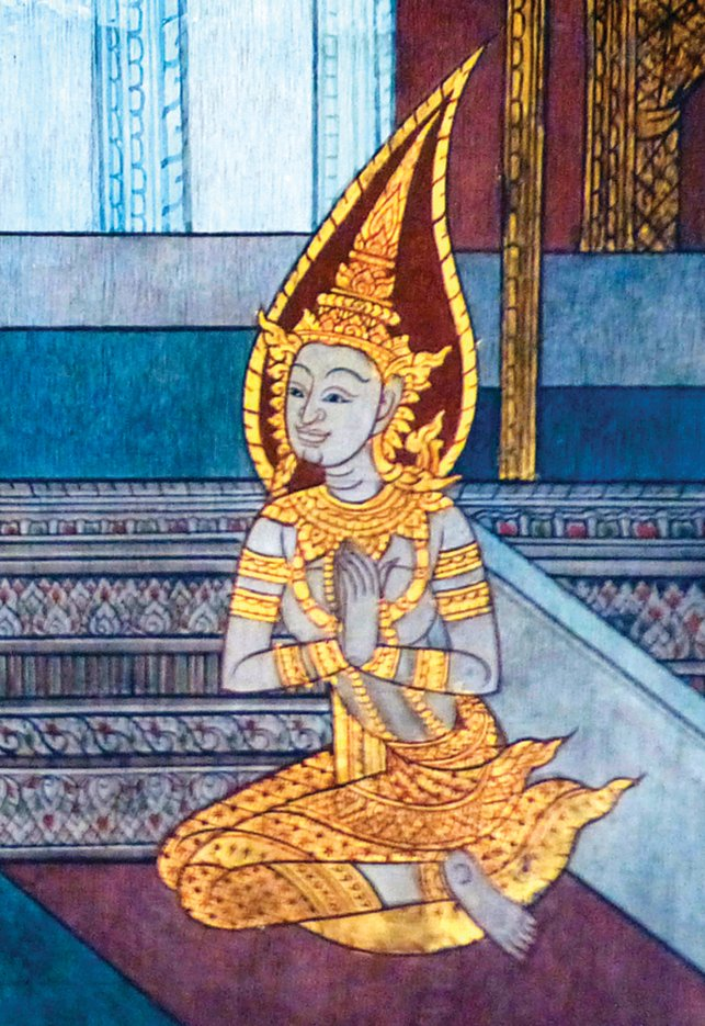 曼谷臥佛寺壁畫上的耶輸陀羅。(Wikimedia Commons)