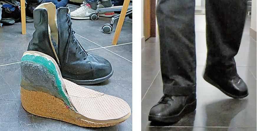 患有小兒痲痹症的余先生穿上Karsten大師的特別訂製的矯形鞋之後,行走得穩了。