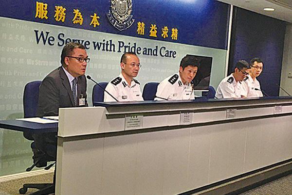 警方記者會指,前晚在深水埗的驅散行動中共施放35枚催淚彈,另外昨日共有17人被捕。(林明/大紀元)