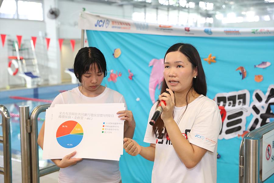 「絕膠吧」籌委會主席梁凱瑩公佈「兒童環保生活習慣」問卷調查結果。(城市女青年商會提供)
