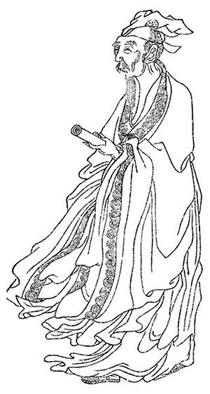 白居易像,出自《晩笑堂竹莊畫傳》