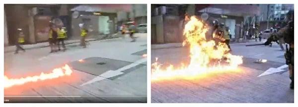 左圖為胡錫進推特影片截圖,右圖為央視所謂暴行襲警圖證。(影片截圖)