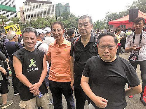 左至右:吳明德、李柱銘、黎智英、何俊仁