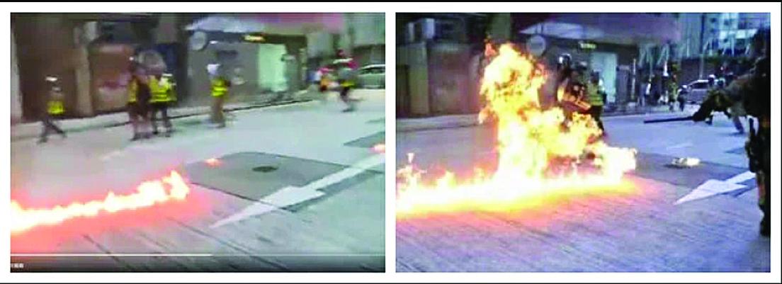 左圖為《環球時報》胡錫進推特影片截圖,右圖為央視所謂暴行襲警圖證。(影片截圖)