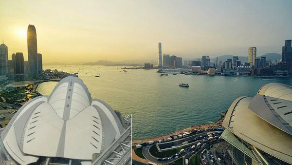 香港會議展覽中心整個就是一隻龜的形狀。(合成圖片)
