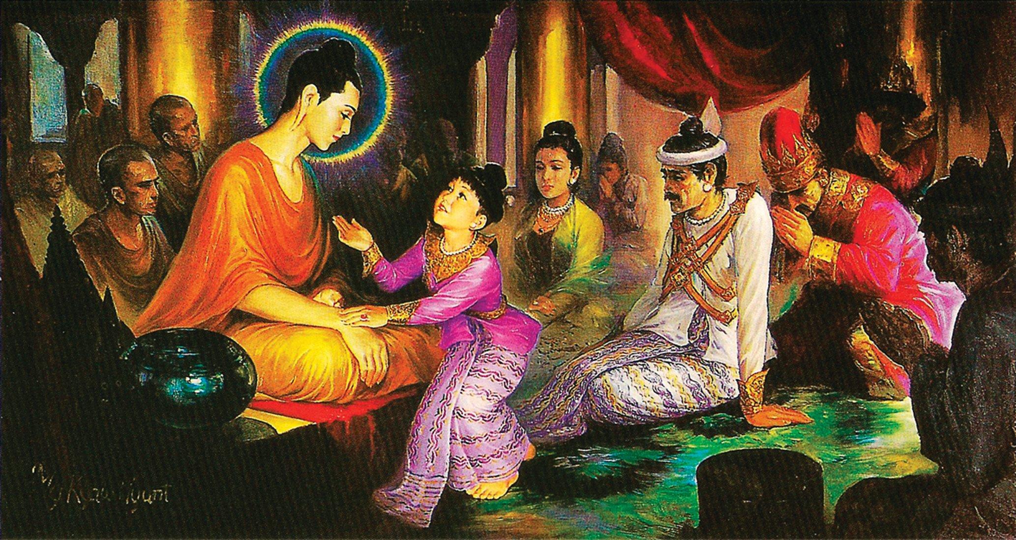 釋迦牟尼佛與兒子羅睺羅。(Hintha/Wikimedia Commons)