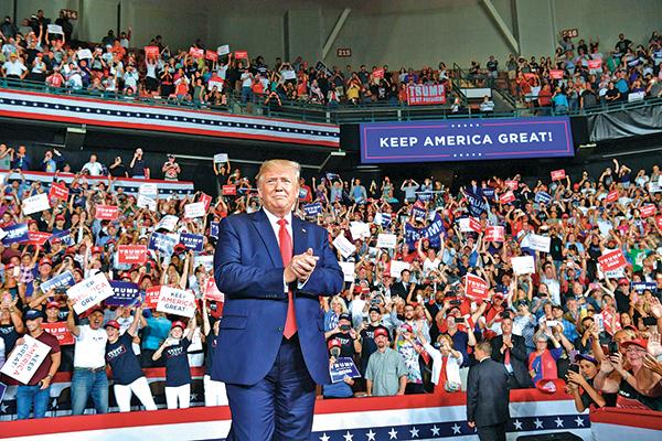 特朗普8月15日出席新罕布什爾州的一個競選集會。(AFP)