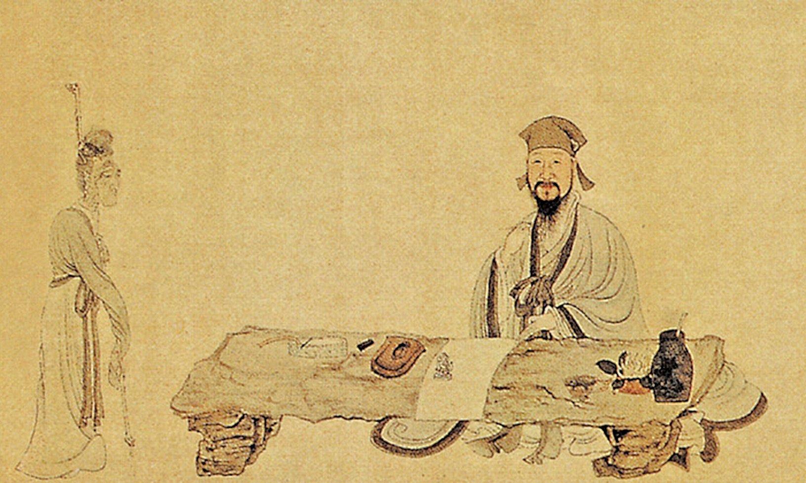 明‧《南生魯四樂圖》(局部),畫中表現白居易作詩通俗,老嫗可解(公有領域)