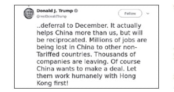 特朗普說,「中方想要達成(貿易)協議,但是先讓他們人道地解決香港問題再說!」(特朗普推特截圖)