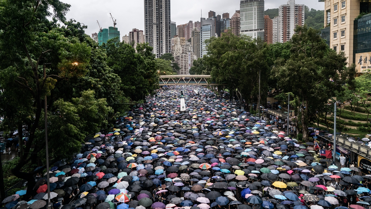 170萬香港民眾8月18日走上街頭舉行反政府示威。( Anthony Kwan/Getty Images)