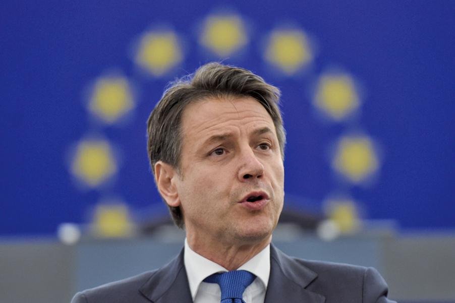 意大利總理朱塞佩孔特(Giuseppe Conte)8月20日宣佈辭職。(AFP)
