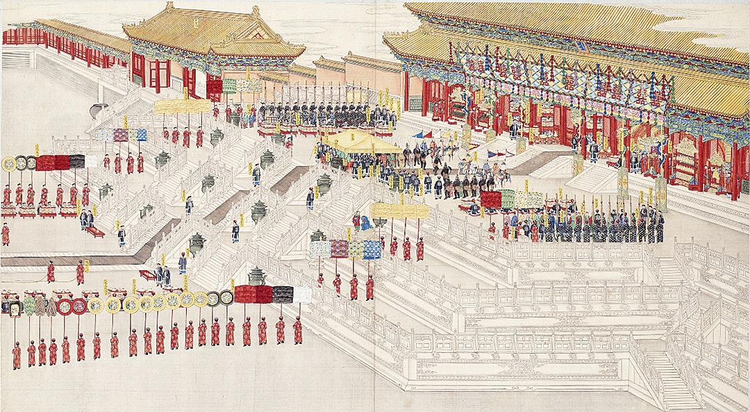清代皇帝婚禮示意圖。圖為清慶寬等繪《大婚典禮全圖冊》。(公有領域)