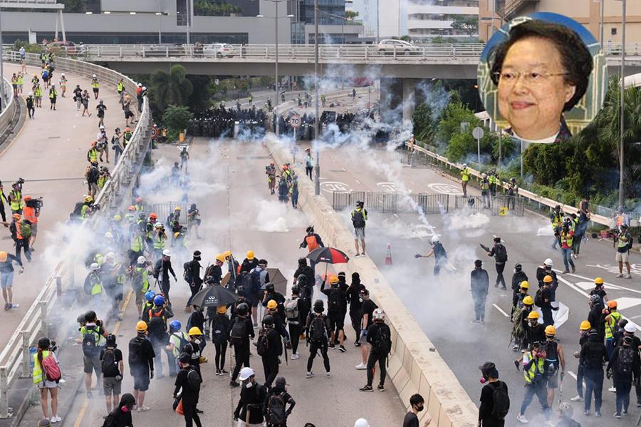 8月24日警方再使用催淚彈。港區人大譚惠珠要求北京派兵入港。(宋碧龍 / 大紀元)小圖 : 港區人大譚惠珠。(大紀元資料庫)