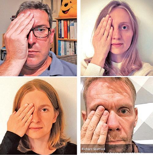 國際社會聲援「#Eye4HK」運動。(社媒圖片合成)