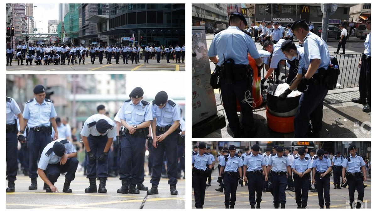 27日,警方突然封鎖欽州街地毯式搜索,消息稱,他們正搜尋子彈。(合成圖片)
