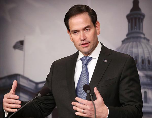 美國共和黨參議員盧比奧敦促一家最大的政府養老基金撤銷投資中國企業的決定。(Mark Wilson/Getty Images)