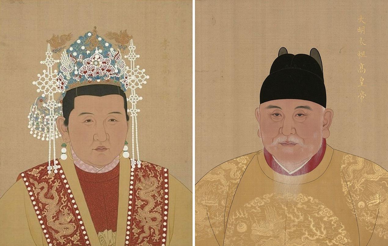 左:大明孝慈高皇后(馬氏)畫像,右:大明太祖高皇帝(朱元璋)像,台北故宮博物院藏。(公有領域/大紀元合成)