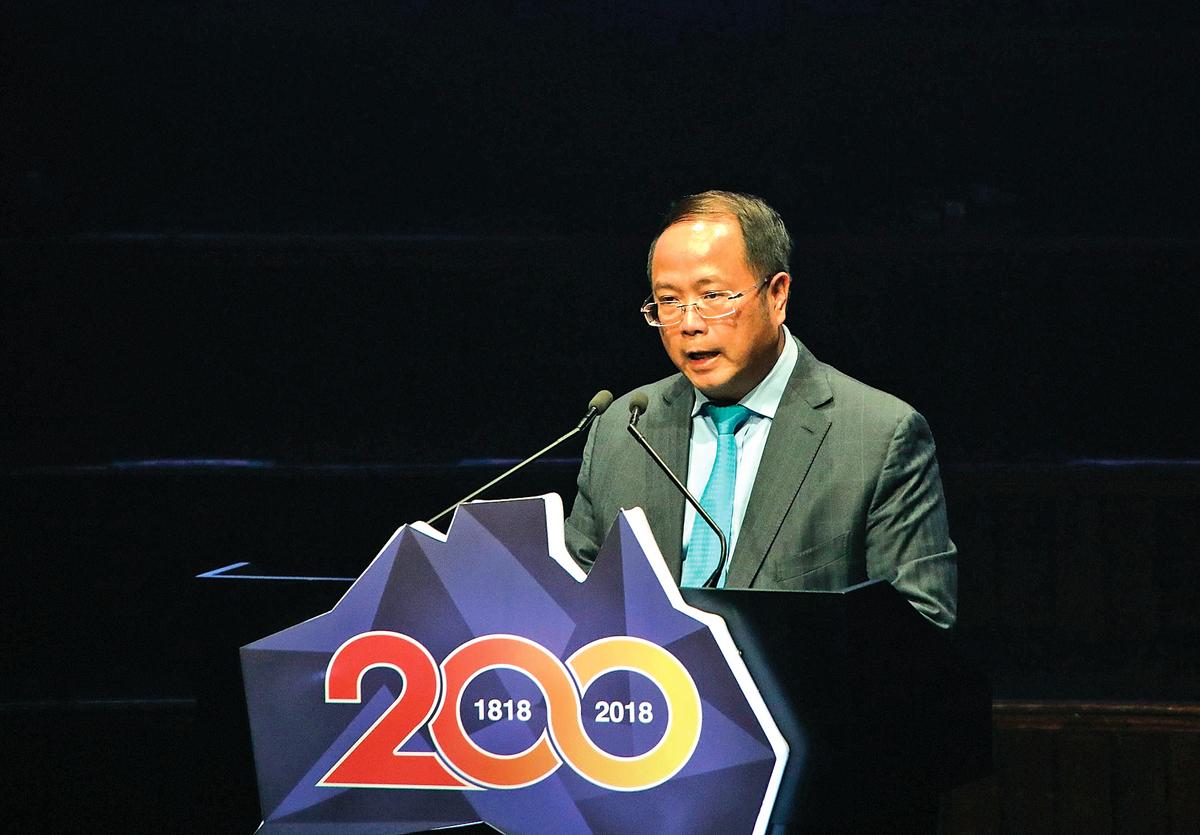 2018年5月20日晚,中國富商黃向墨在澳洲一次華人活動上講話。(大紀元資料室)