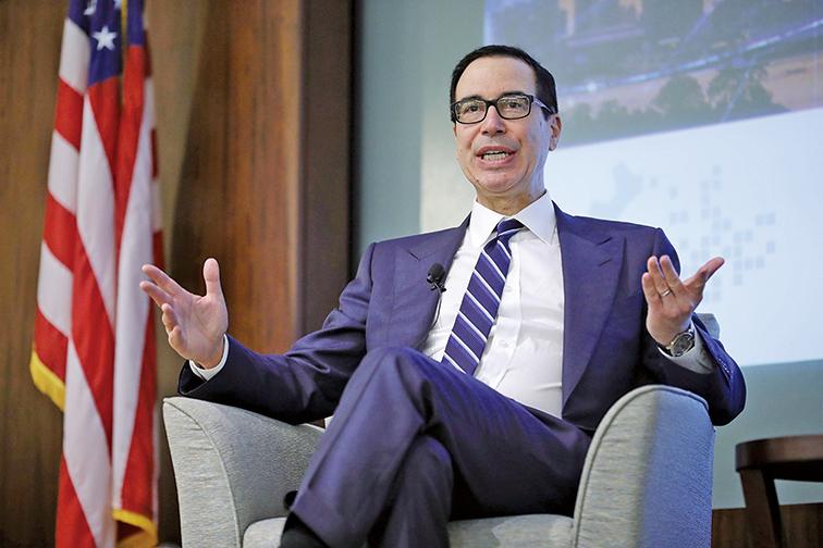 美國財政部長姆欽8月28日表示,美國目前不會干預美元市場。(Getty Images)